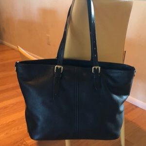 Cole Haan Loralie pebbled black top zip tote